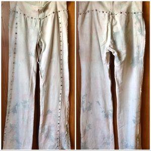Benoch and Terra Tie-dye Studded BOHO Pants Sz L